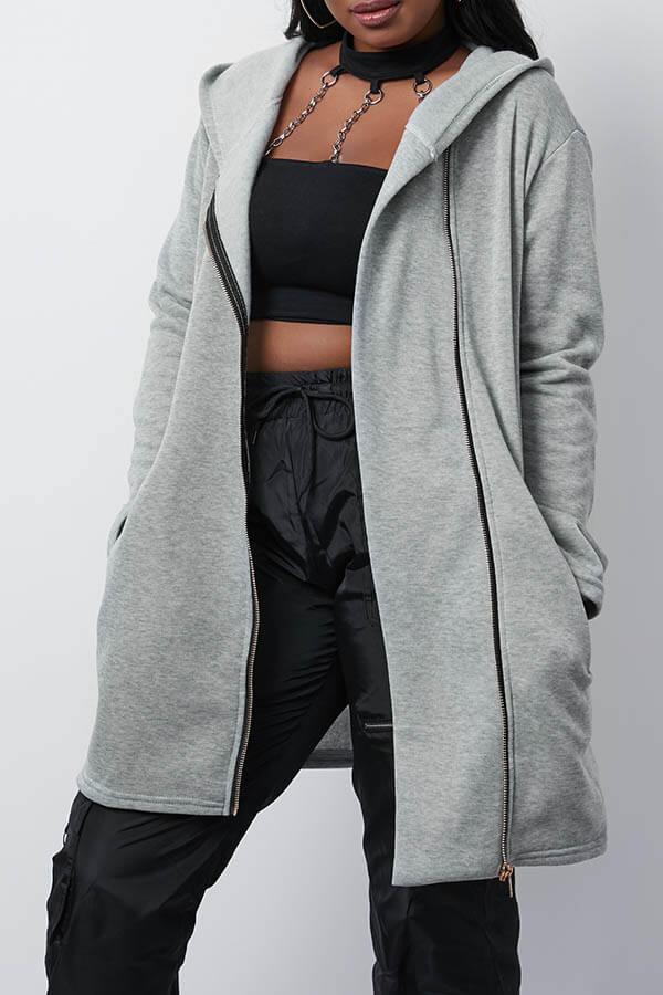 Lovely Casual Hooded Collar Zipper Design Grey Coat