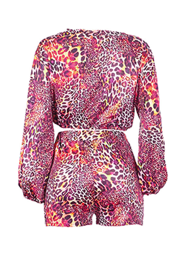 Lovely Chic Leopard Printed Rose Red Two-piece Shorts Set