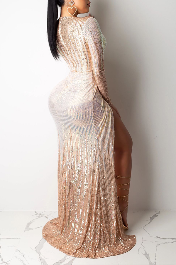 Lovely Party V Neck Ruffle Design Apricot  Prom Dress