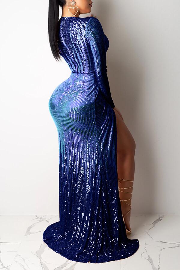 Lovely Party V Neck Ruffle Design Dark Blue Prom Dress