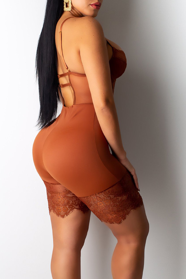 Lovely Sexy Hollow-out Brown One-piece Romper