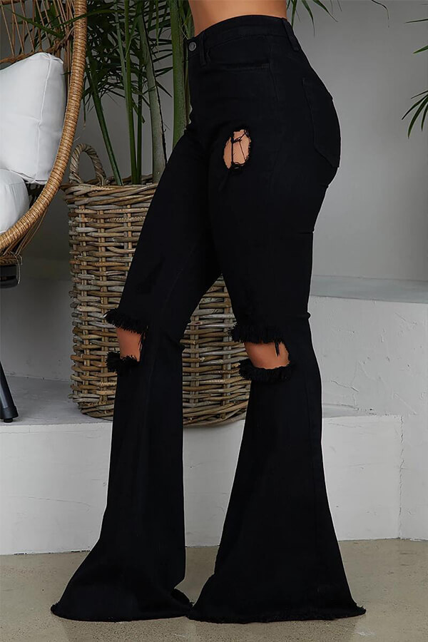 Lovely Casual Mid Waist Broken Holes Black Pants