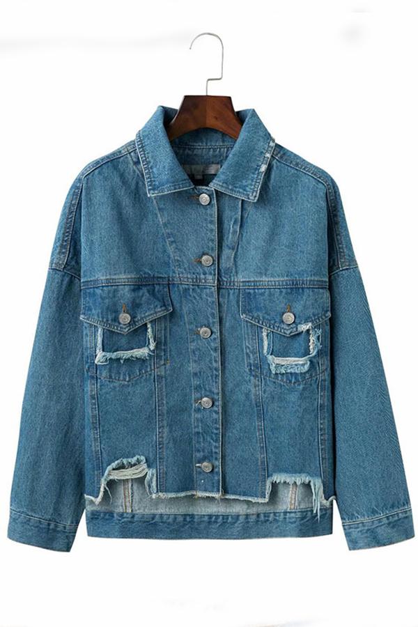 Lovely Casual Raw Edge Blue Denim Coat
