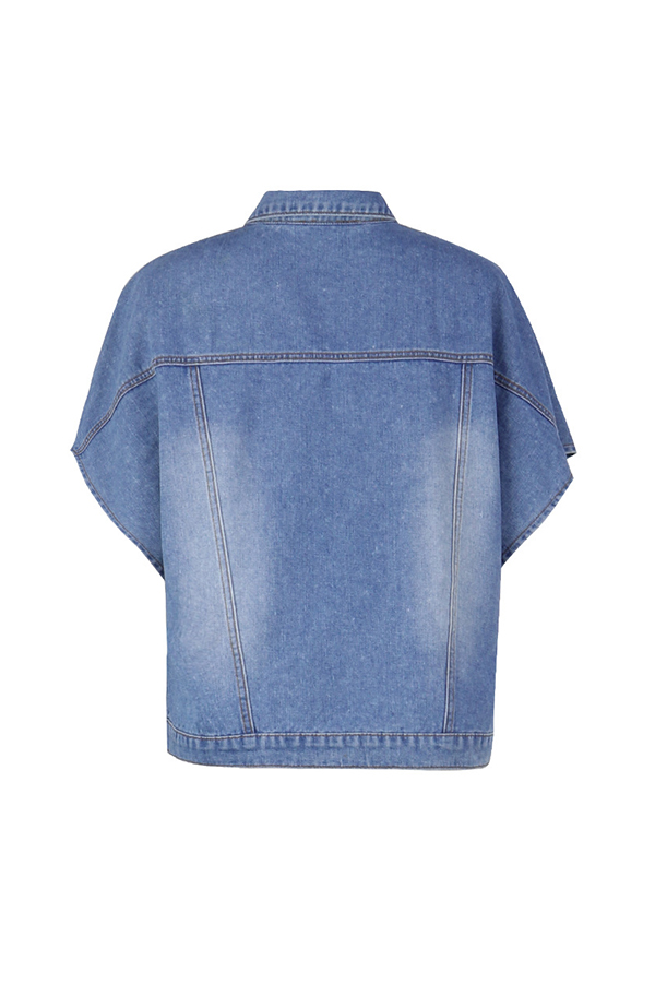 Lovely Leisure Buttons Design Blue Jacket