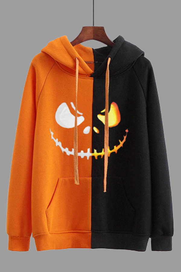 Lovely Halloween Casual Patchwork Black Plus Size Hoodie