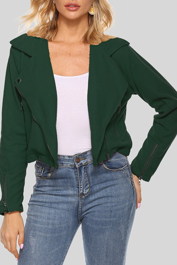 Lovely Casual Zipper Design Blackish Green Short Coat