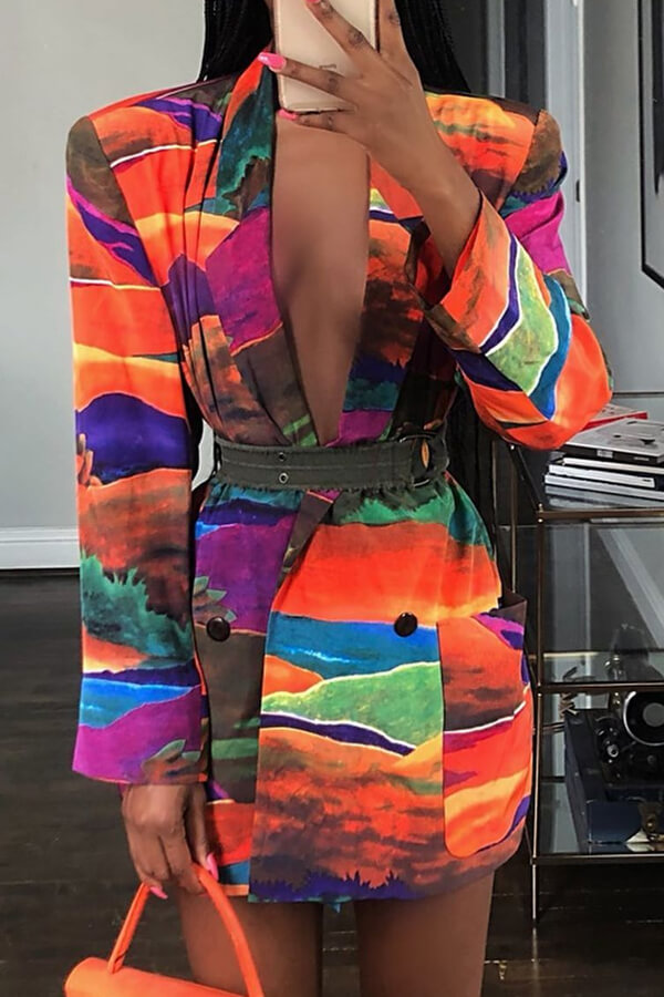 Lovely Casual Printed Multicolor Blazer