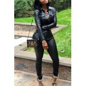 Lovely Street Turndown Collar Buttons Design Black Two-piece Pants Set