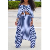 Lovely Casual Striped Blue Two-piece Pants Set