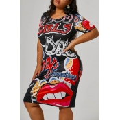 Lovely Casual Printed Black Knee Length Plus Size