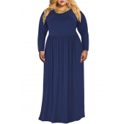 Lovely Casual O Neck Loose Dark Blue Floor Length