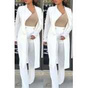 Lovely Trendy Lapel White Long Blazer