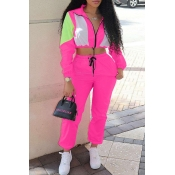 Lovely Casual Turndown Collar Patchwork Pink Two-p