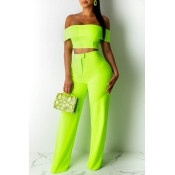 Lovely Trendy Off The Shoulder Green Two-piece Pan