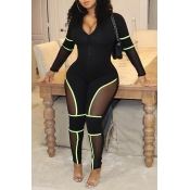 Lovely Casual Patchwork Black One-piece Jumpsuit