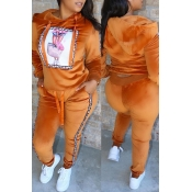 Lovely Casual Hooded Collar Orange Two-piece Pants