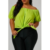 Lovely Trendy Buttons Decorative Green Plus Size B