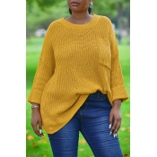 Lovely Leisure Pockets Design Yellow Sweater