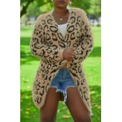Lovely Euramerican Long Sleeves Leopard Cotton Ble