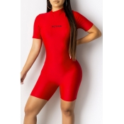 Lovely Sportswear Letter Printed Red One-piece Rom