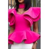 Lovely Work Flounce Design Rose Red Blouse