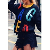 Lovely Leisure Letter Black Sweater