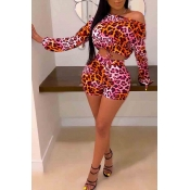 Lovely Chic Leopard Printed Rose Red Two-piece Sho