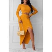 Lovely Street Asymmetrical Yellow Two-piece Skirt