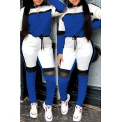 Lovely Sportswear Hooded Collar Patchwork Blue Two
