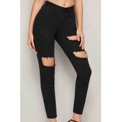 Lovely Trendy Broken Holes Black Jeans