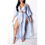 Lovely Casual Striped Loose Slit Blue One-piece Ju