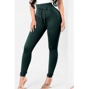 Lovely Trendy Bandage Design Blackish Green Pants