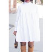 Lovely Trendy Turtleneck White Mini T-shirt Dress