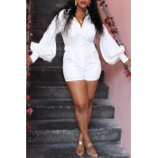 Lovely Casual Pocket Patched White One-piece Rompe