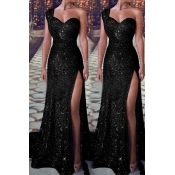 Lovely Party One Shoulder Black Floor Length Evening Dress