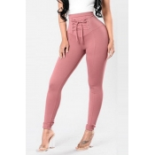 Lovely Trendy Drawstring Skinny Pink Pants
