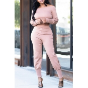 Lovely Casual Skinny Light Pink Two-piece Pants Se