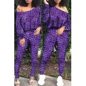 Lovely Casual Leopard Printed Purple Two-piece Pan