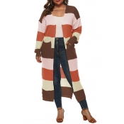 Lovely Casual Patchwork Brown Plus Size Cardigan