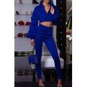 Lovely Street Mandarin Collar Blue Two-piece Pants