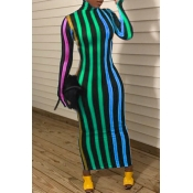 Lovely Casual Striped Green Ankle Length Dress