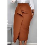Lovely Work Asymmetrical Coffee Mid Calf Skirt