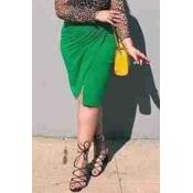 Lovely Casual Slit Green Plus Size Skirt