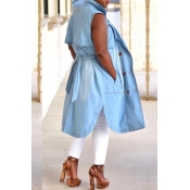 Lovely Trendy Sleeveless Baby Blue Coat