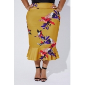 Lovely Trendy Printed Yellow Plus Size Skirt