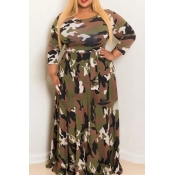 Lovely Casual O Neck Camouflage Printed Army Green