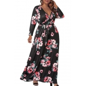 Lovely Casual V Neck Floral Printed Pitch-black An