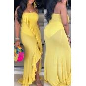 Lovely Casual Sleeveless Flounce Design Yellow Flo