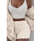 Lovely Casual Basic White Three-piece Shorts Set