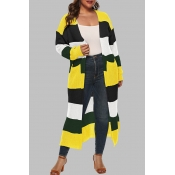 Lovely Casual Patchwork Black Plus Size Cardigan